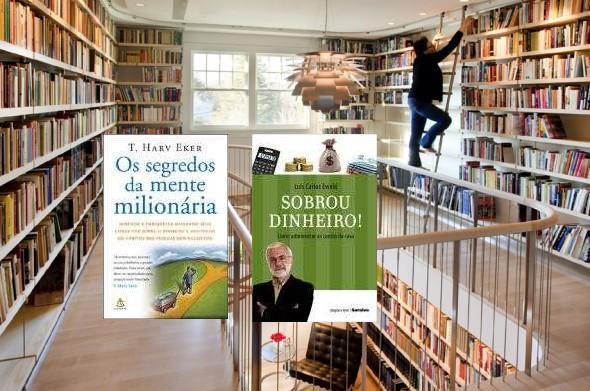 Biblioteca em casa, dois livros pra sobrar dinheiro.